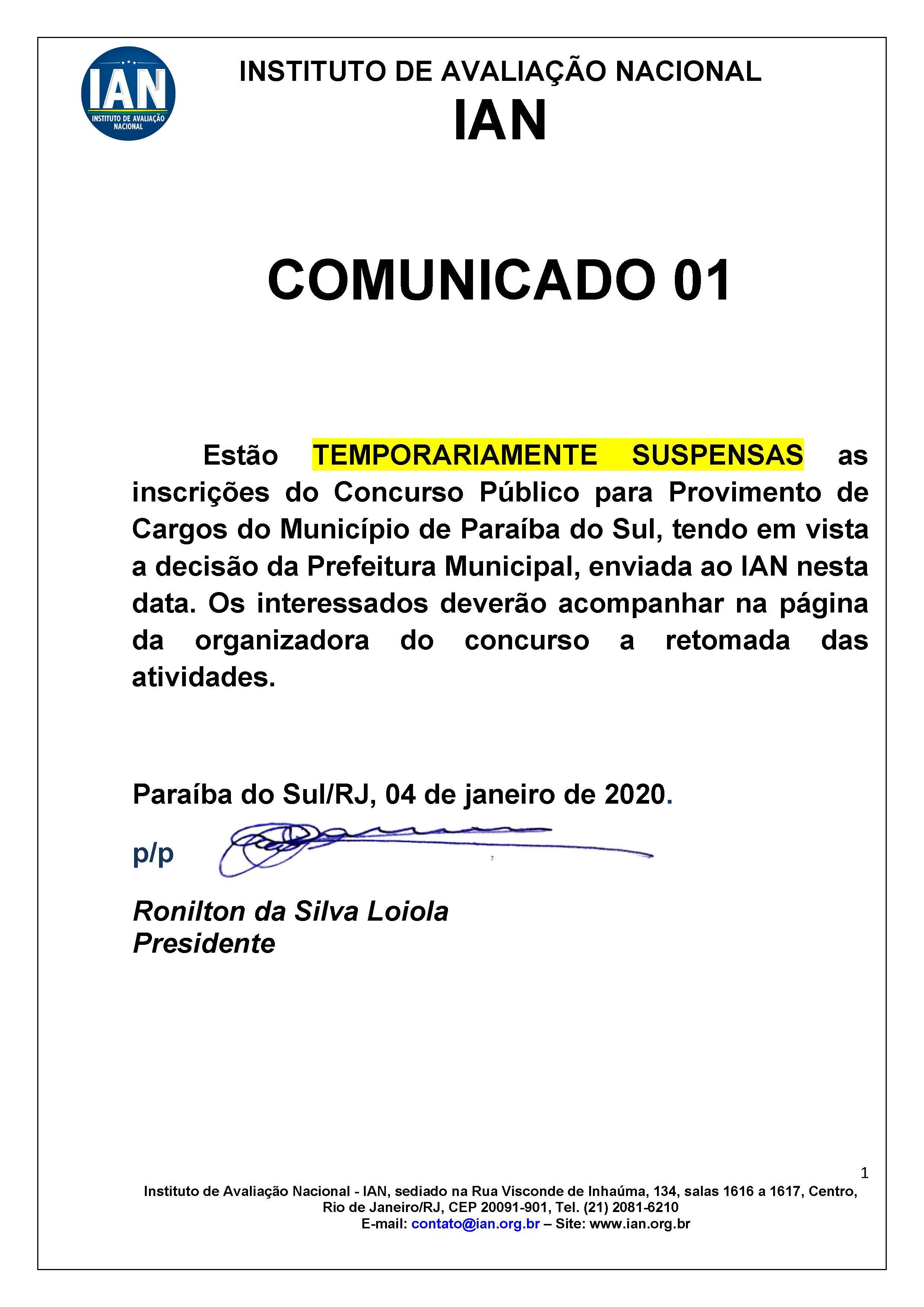SUSPENSÃO TEMPORÁRIA INSCRIÇÕES CONCURSO PARAÍBA DO SUL